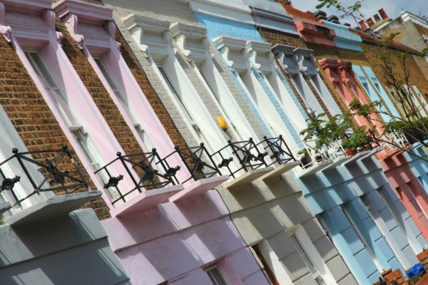 Colourful row of house fronts